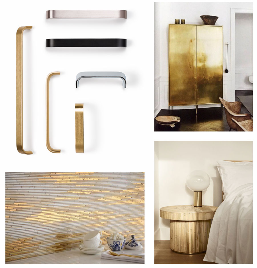 Golden handles for kitchens, bedrooms and bathrooms decoration. Tiradores dorados para decoración de cocinas, habitaciones y baños